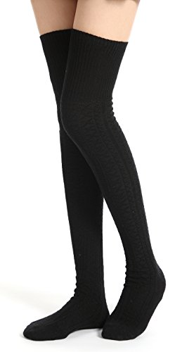Flora&Fred Women's Turn Cuff Diamond Patterned Over The Knee High Socks Black