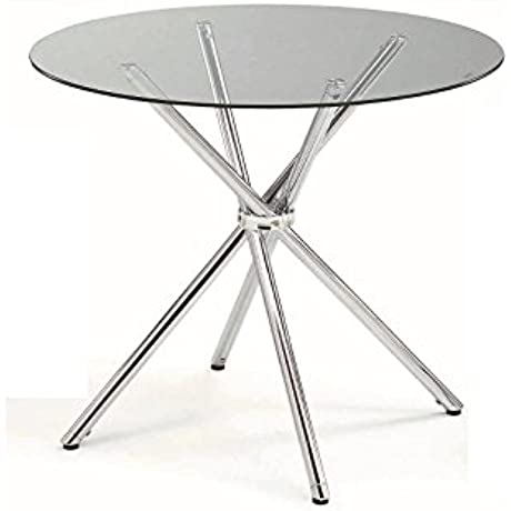 Round Dining Table Metal Glass 387784