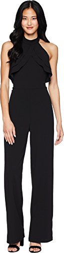bebe Womens Ruffle Halter Neck Jumpsuit Black 12