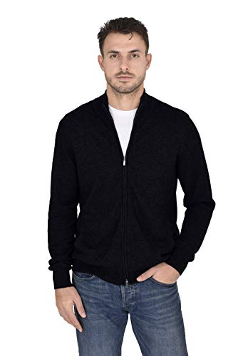 Cashmeren Men's Wool Cashmere Classic Knit Soft Full-Zip Mock Neck Pullover Sweater (Black, X-Large)