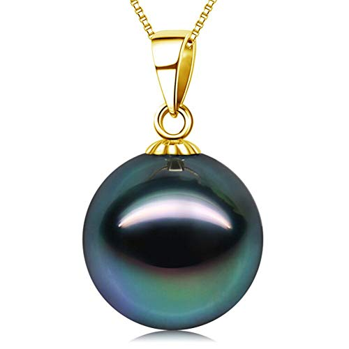 (18K Gold 10-11mm Genuine Black Tahitian South Sea Cultured Pearl Infinity Pendant Necklace for Women with 18