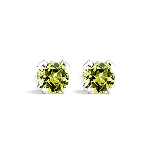(3mm Tiny Lime Green Peridot Gemstone Post Stud Earrings in Sterling Silver - August Birthstone)