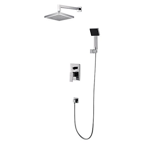 CRW Rain Shower Mixer Set System Concealed with Handheld Rainfall Shower Head Sprayer Chrome for Bathroom Wall Mount, 2 Function 3602A (Shower Set Riser)