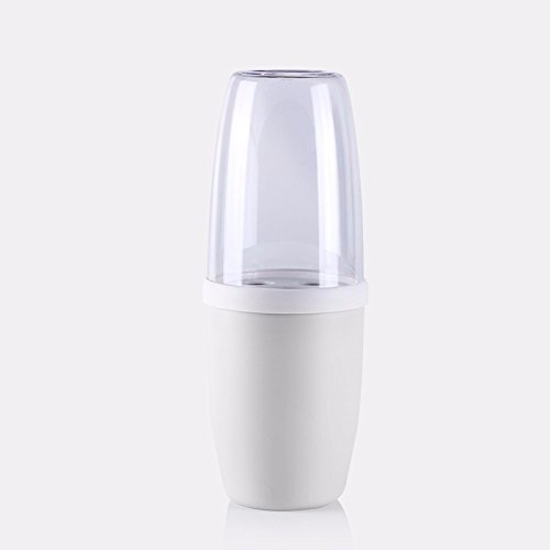 Mouthwash Cup Brush Cup simple packaged couples plastic wash cup travel toothpaste on the brush box Bluetooth cylinder cup, White by TDLC