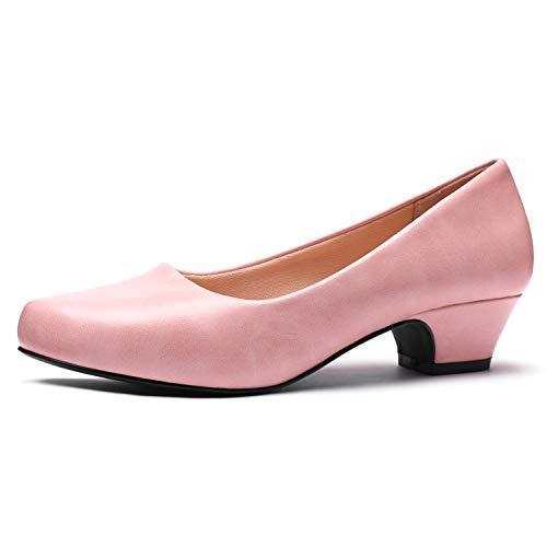 White Dress Pink Shoes (GUCHENG Chunky Heels Pumps Low Shoes Women's - Dress Ladies Heel Comfortable - Formal Width Black Brown White Wedding Shoes (9.5 M US,)