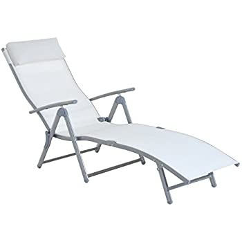 Outsunny Patio Reclining Chaise Lounge Chair with Cushion (Cream White)  sc 1 st  Amazon.com : patio recliner lounge chair - islam-shia.org