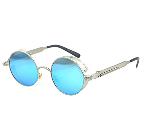 886 STEAMPUNK Steampunk European and American punk retro personality reflective sunglasses sunglasses for men and women (Plated gun - Chinese Sunglasses