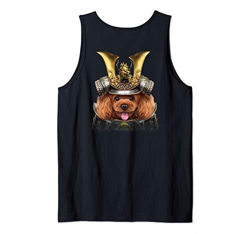 (Toy Poodle Dog Warrior wearing Japanese Samurai Armor Tank Top)