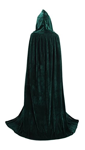 TULIPTREND Full Length Hooded Cloak Christmas Halloween Cosplay Costume CapeUS L (tag size XL (XL=170cm) Hunter Green]()
