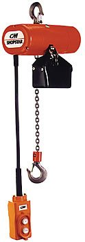CM ShopStar Electric Chain Hoist, Single Phase, Hook Mount, 1/2 Ton Capacity, 10' Lift, 6 fpm Max Lift Speed, 0.167 HP, 7/8