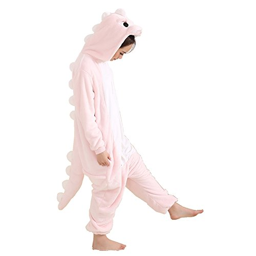 Dragon Costumes For Women (Afoxsos Women's Pink Dinosaur Onesie Adult Pajamas Cosplay Costume ,Size M ,Pink Dragon)