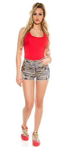 Camouflage Jeans Shorts mit Aufnäher, Tarnmuster