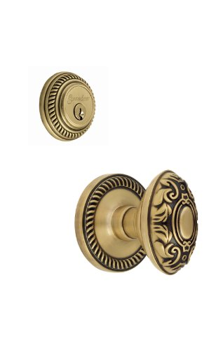 Grandeur Newport Rosette with Grande Victorian Knob and Matching Deadbolt Complete Single Cylinder Combo Pack Set, Vintage Brass