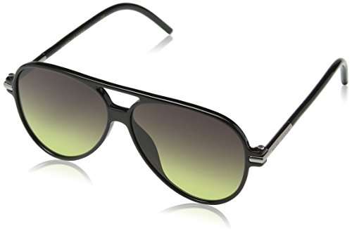 (Marc Jacobs Marc44s Aviator Sunglasses, Shiny Black/Gray Green, 56 mm)
