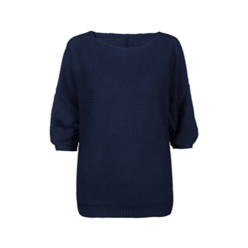 WanYang Mujer Batwing Manga Suelto Suéter Pull-over Casual Parte Blusa Pullover Tops Prendas de punto Armada