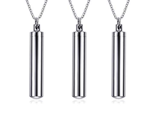 (VNOX Customize Stainless Steel Cylinder Cremation Charm Keepsake Memorial Urn Necklace for Ashes, Set for 3)