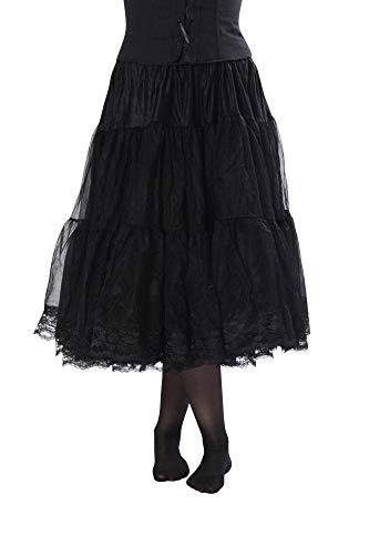 - Malco Modes Tea-Length Chiffon Crinoline Petticoat Underskirt Full Slip w/ Lace,Black,X-Small