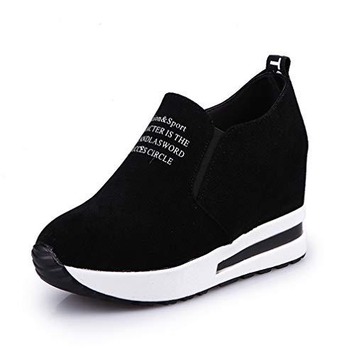 Women's High-top Platform Walking Sneakers Suede Mid Heel Flat Loafers Hidden Wedges Slip-on Shoes Black