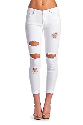 BLUE AGE Womens White Destroyed Ripped Skinny Jeans, 5
