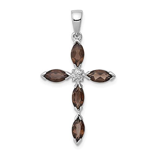925 Sterling Silver Smoky Quartz Diamond Cross Religious Pendant Charm Necklace Gemstone Fine Jewelry Gifts For Women For Her ()