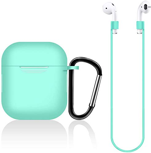 AirPods Case Silicon with Earbuds Strap and Keychain Upgraded Ultra-Thin Soft Skin Cover Compatible with Apple AirPods 2 & 1 (AirPods Case-Green)