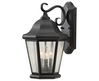 Feiss OL5902BK Martinsville Outdoor Patio Lighting Wall Lantern, Black, 3-Light (10''W x 17''H) 180watts