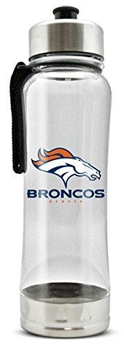 NFL Denver Broncos 20oz Clip-On Clear Plastic Water Bottle