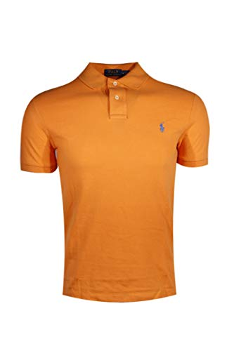 (Polo Ralph Lauren Slim Fit Pique Mesh Polo Shirt (X-Large, Orange (Blue Pony)))
