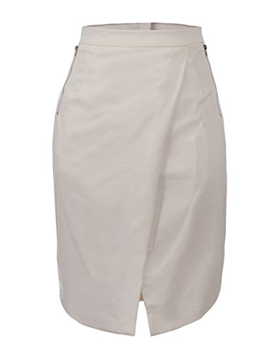Glostory Women's Casual Cut Out Mid Waist Zipper Junior Mini Asymmetric Skirts WQZ-1404 (42, White)