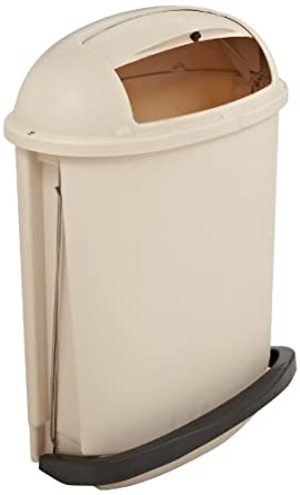 Rubbermaid Commercial Fire-Safe Pedal Rolltop Receptacle, Oval, Plastic, 14.5 Gallons, Beige (617700BG)