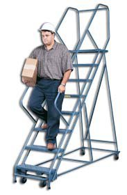 Storage Products Group (Amco), All Welded - 18 Inch With Grip Strut Steps With Handrails, Hd4R1, Platform Height: 40'', Overall Height: 70'', Base Wxl: 20'' X 44'', Wt. (Lbs.): 62, No. Steps: 4, D4R1 by STORAGE PRODUCTS GROUP (AMCO)