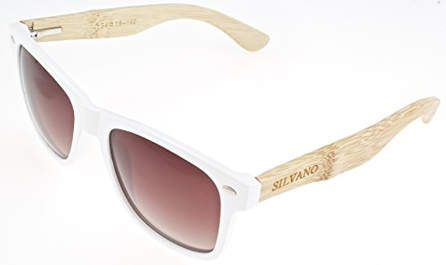 Shades Silvano Sunglasses Composite White Framed Brown Fade Lenses With Wood - Silvano Sunglasses Wood