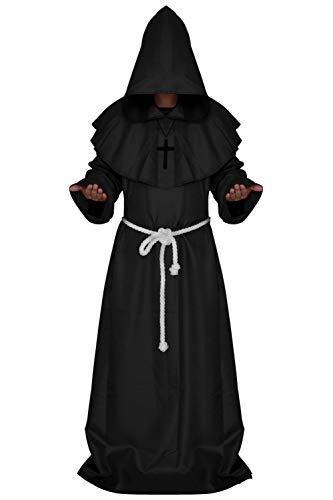 Medieval Monk Robe Cosplay Halloween Hooded Cape Costume Cloak (XX-Large, Black) -