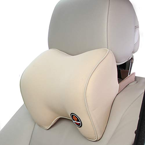 ICOMFYWAY Car Neck Support Pillow for Driving, Car Seat Headrest Pillow with Soft Memory Foam (Beige)
