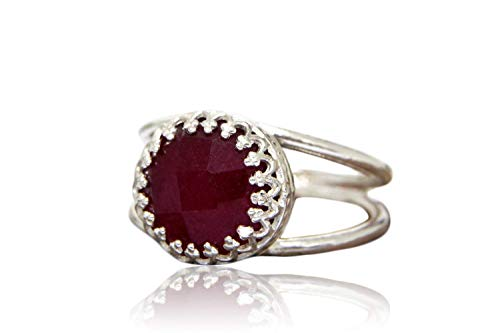 Anemone Jewelry AA Ruby Silver Ring - Elegant Custom 10CT Ruby Ring Made By Artisans For Casual Wear & Special Occasions - Free Fancy Ring Box [Handmade]