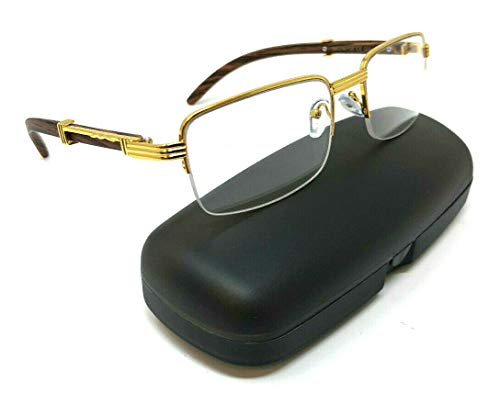 Executive Half Rim Rectangular Metal & Wood Eyeglasses/Clear Lens Sunglasses (Gold & Cherry Wood w/Case, Clear) ()