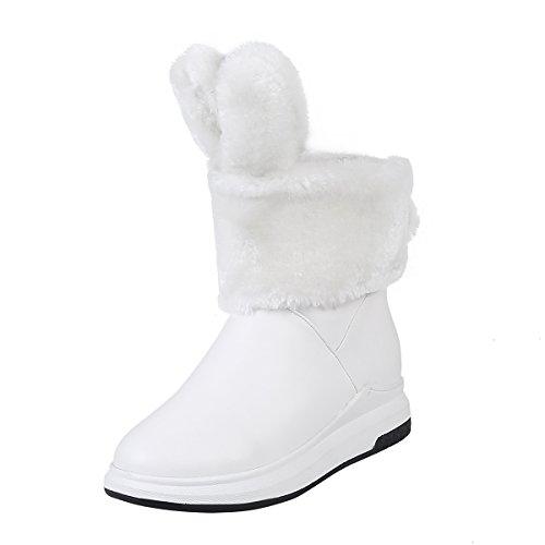 YE Damen Flache Ankle Boots Plateau Stiefeletten mit Fell Süß Bequem Schuhe Weiß