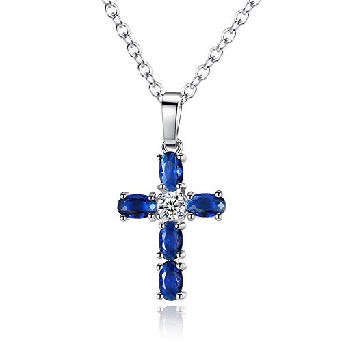 Crystal Oval Cross (URBeauty Blue Zircon Cross Shaped Item Oval Crystal Inlay Pendant Necklace Fashion Jewelry Top Quality Temperament Women New Year Gift Jewelry)