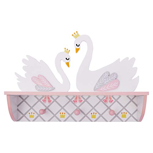 Fantasy Fields Td-12927A Swan Lake Ballerina Peg Hook & Wall Shelf, Hand-Painted Wooden Furniture, White/Pink