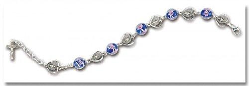 Blue Venetian Round Glass Sterling Silver Rosary Bracelet 10mm