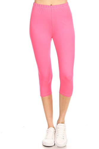 Leggings Mania Women's Solid Colored Capri Leggings Plus Size N Pink