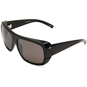 Electric Visual El Guapo ES09101664 Polarized Wrap Sunglasses,Gloss Black Frame/Ve Silver Lens,One Size