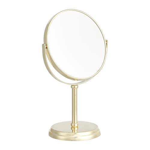 Amazon Basics Vanity Mirror – 1X/5X Magnification, Gold