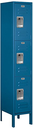 Steel Locker Standard (Salsbury Industries 63152BL-U Triple Tier 12-Inch Wide 5-Feet High 12-Inch Deep Unassembled Standard Metal Locker, Blue)