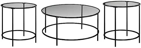 Home Square 3 Piece Glass Top Coffee Table Set in Black