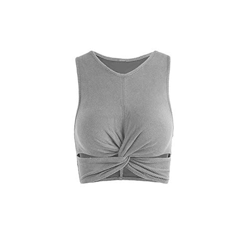 Solid Running Padded Yoga Bras Gym Fitness Crop Tops Workout Brassiere High Elasticity Motion Vest,S Gray