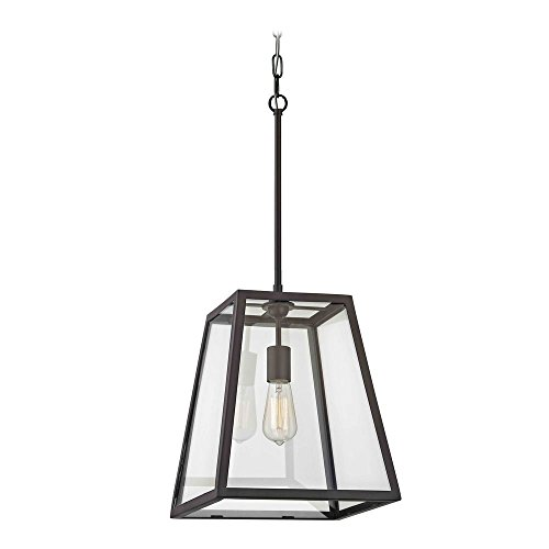 Country Bronze Mini-Pendant Light with Square Shade