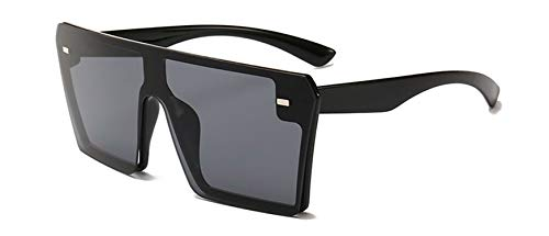 Oversize Square Sunglasses Women Flat Top Gradient Glasses Men,Black Black (Sonnenbrille Lanyard)