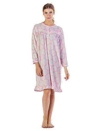 (Casual Nights Women's Long Sleeve Printed Micro Fleece Nightgown - Light Pink - Large)