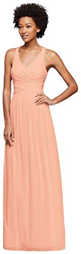 (Small Ella Mesh Long Bridesmaid Dress with Staggered Back Strap Style,12,Bellini )